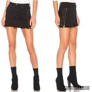 BlankNYC Lace Up Denim Mini Skirt in Be a Frayed